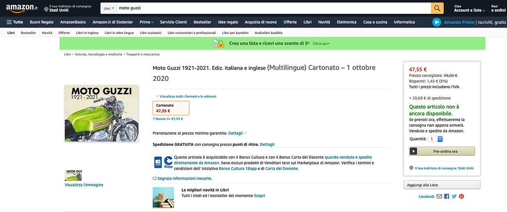 Moto Guzzi 1921 - 2021 Amazon IT