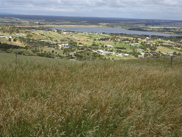 Port Lincoln. Farmlets and a lake from the town lookout.