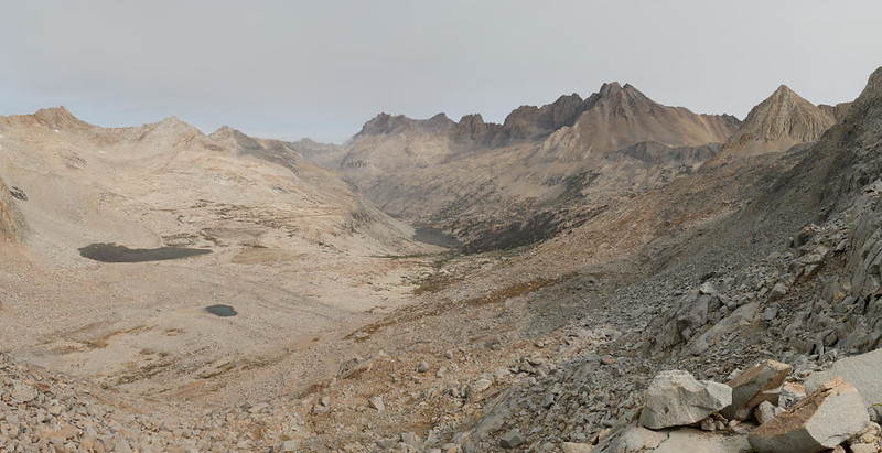 Panorama north from Mather Pass, with the Palisade Lakes and the Palisade Crest (center) on the Pacific Crest Trail