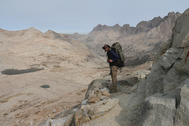 Hiking north from Mather Pass into the Palisade Creek drainage, on the Pacific Crest Trail