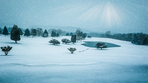 lenape heights golf course ford city pennsylvania snow landscape pond trees sky flare cold scenery