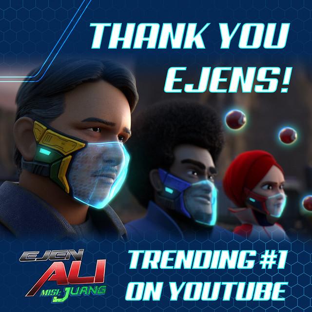 Filem EJEN ALI MISI : JUANG Raih Tontonan 1 Juta Tontonan & Trending #1 di Youtube