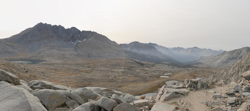 Panorama southeast from Mather Pass, with Upper Basin and the headwaters of the South Fork Kings River