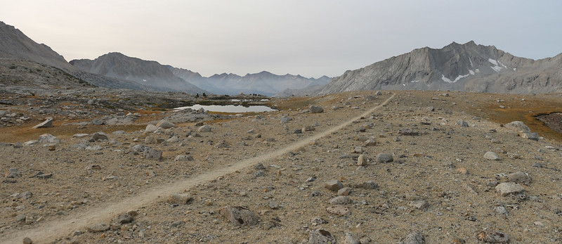 Panorama view of the Pacific Crest Trail as it heads south from Mather Pass across Upper Basin