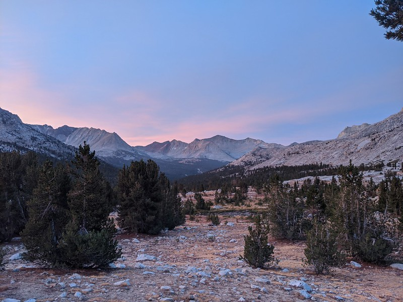 Looking south toward Mount Ickes (center) before dawn from our camp on the PCT along the South Fork Kings River