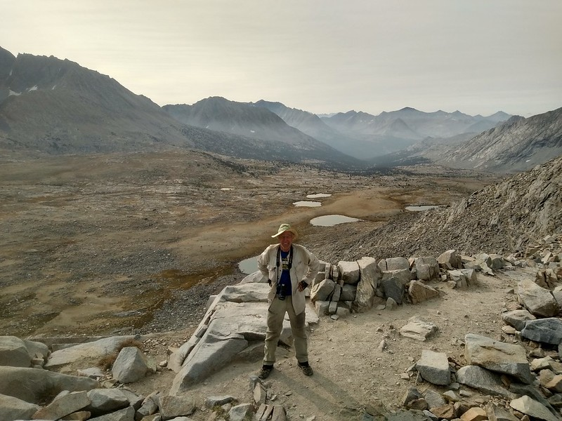 Me on the PCT, from Mather Pass looking south at Upper Basin and the South Fork Kings River