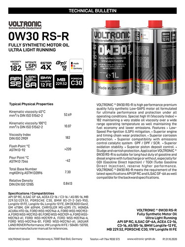 VOLTRONIC motor oil 0W30 RS-R | by VOLTRONIC GmbH Germany