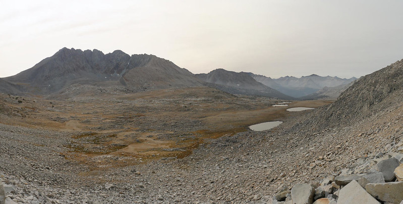 Split Mountain (14064 feet elevation) is on the left, and Upper Basin is below, from the PCT near Mather Pass