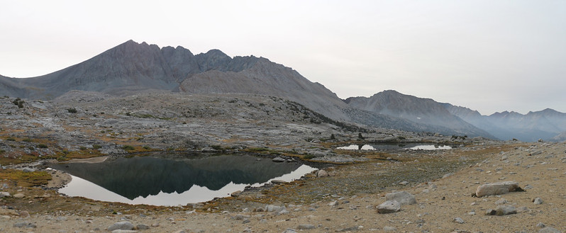 High tarns in Upper Basin with Split Mountain left of center as we head toward Mather Pass on the PCT