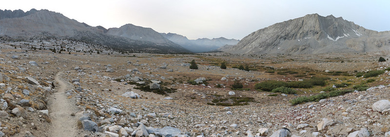 Panorama view south over Upper Basin from the Pacific Crest Trail