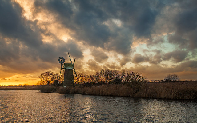December Sunset over Turf Fen Mill