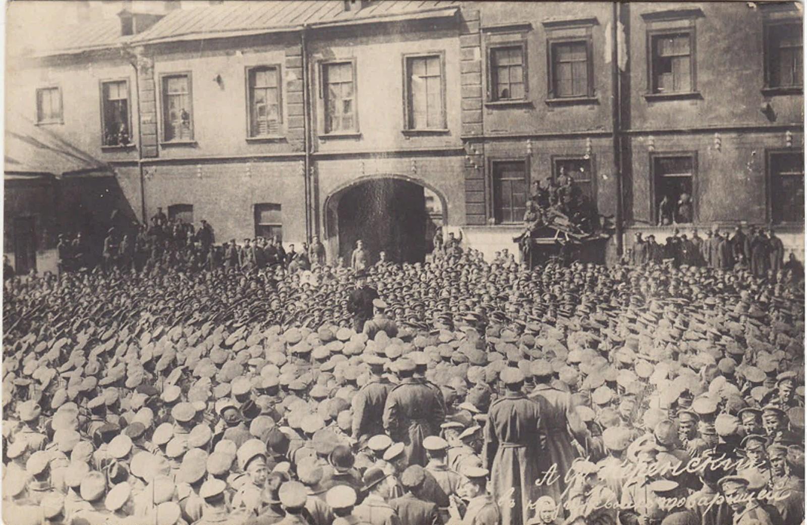 Июнь.  А. Ф. Керенский выступает перед солдатами