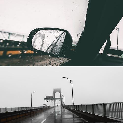 claibornepellbridge splitframe comingandgoing newportbridge newport newportrhodeisland bridge suspensionbridge rearview rainyday fineartphotography