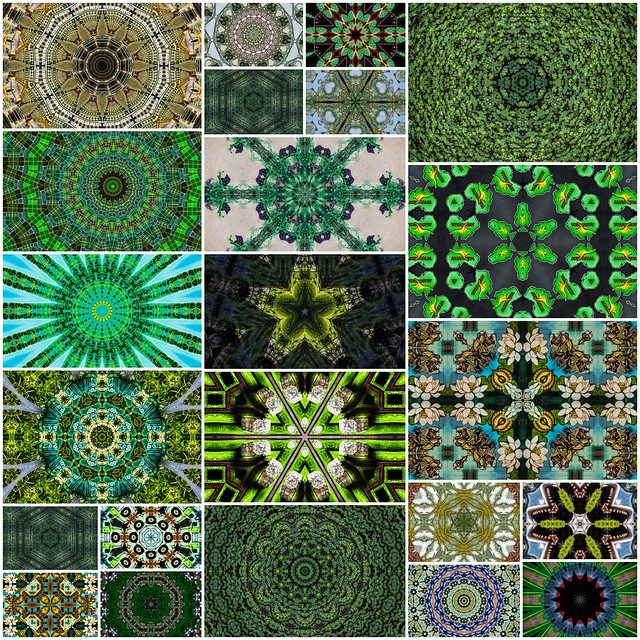 green kaleidoscope collage