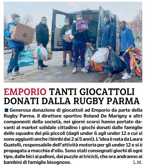 Gazzetta di Parma 27.12.20 - Consegna giocattoli Emporio Solidale