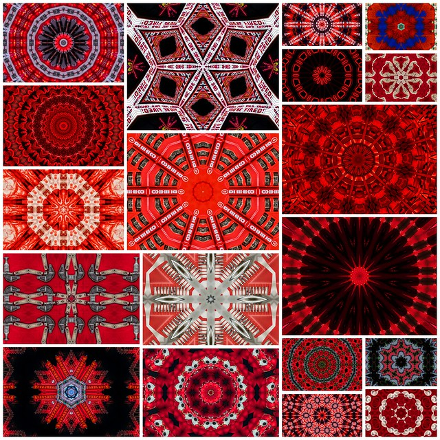 red kaleidoscope collage