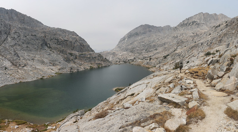 Lake 10613, the lowest of the Palisade Lakes, as we continue north on the Pacific Crest Trail from Mather Pass