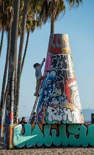 Climbing Up the Venice Graffiti Wall - Venice Beach, CA