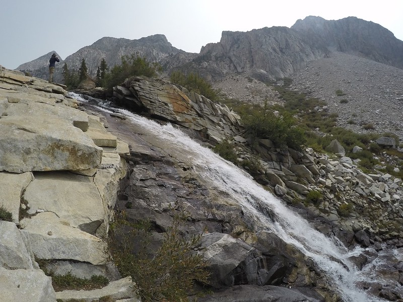 Waterfall on the headwall of the lower valley of Palisade Creek, from the Pacific Crest Trail