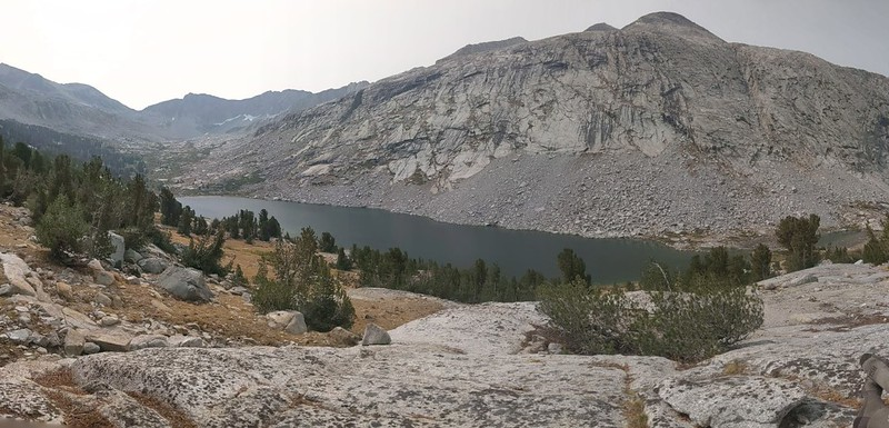 Mather Pass is the low spot on the far left. This is where we ate lunch above the Palisade Lakes on the PCT