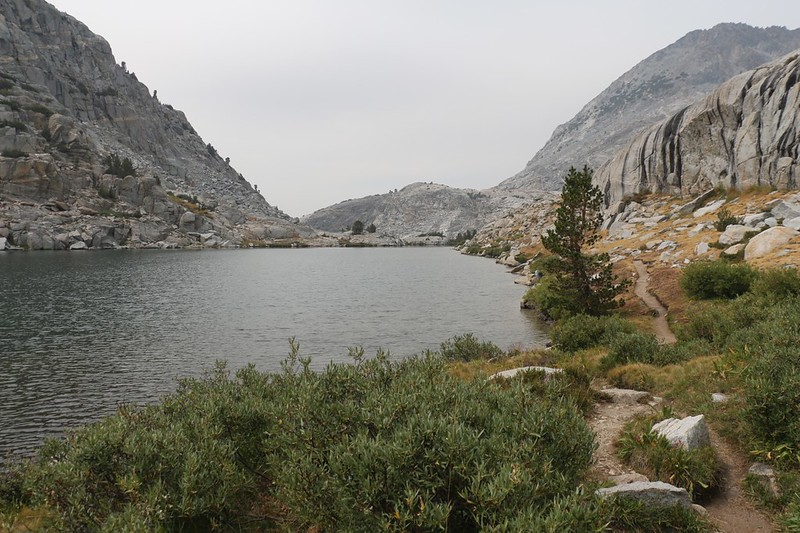The Pacific Crest Trail finally drops down to lake level at the lowest of the Palisade Lakes