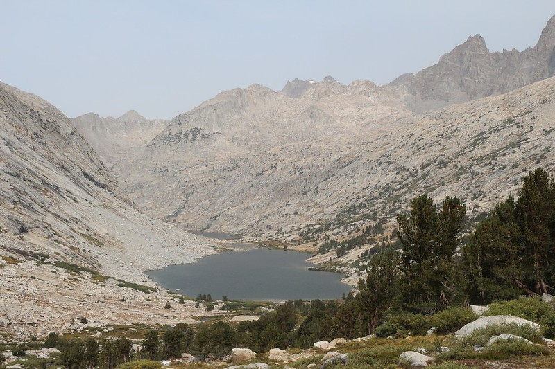 The Palisade Lakes are just below us as we hike north from Mather Pass on the Pacific Crest Trail