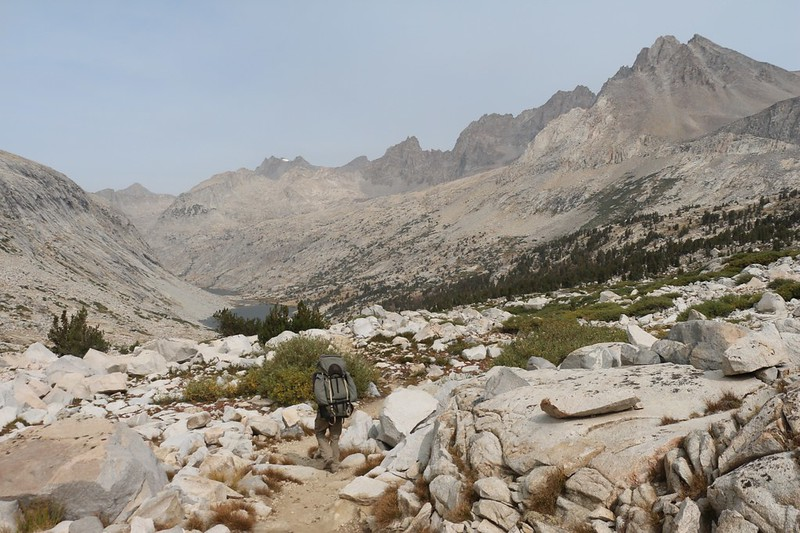 The Palisade Crest (and other peaks) on the right as we make our way down the PCT toward the Palisade Lakes