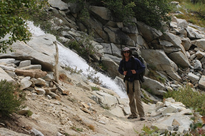 The PCT comes right up to a rushing waterfall on Palisade Creek