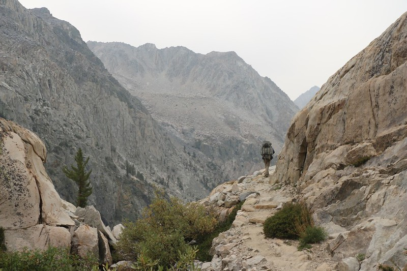 The Pacific Crest Trail is really cut into the granite walls of the Palisade Creek Valley, Mount Shakspere in the distance