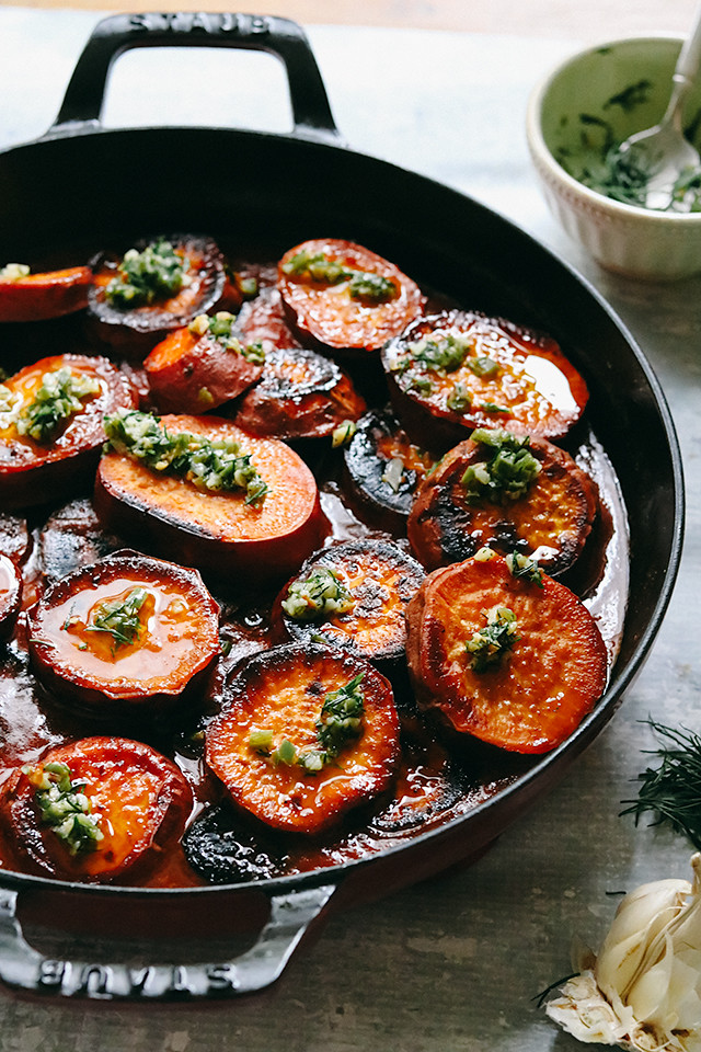 Roasted Sweet Potatoes in Tomato, Lime, and Cardamom Sauce