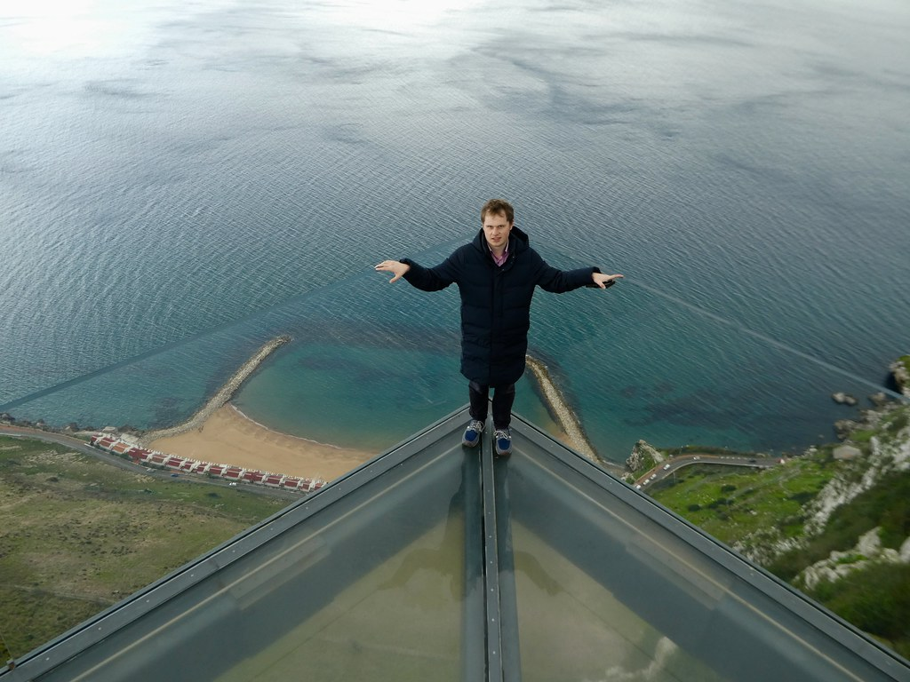 Standing on the edge of the Gibraltar Skywalk