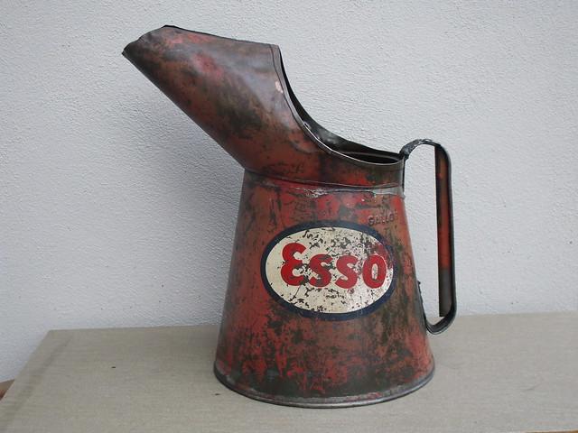 Large Vintage Old One Gallon Esso Oil Pourer / Jug