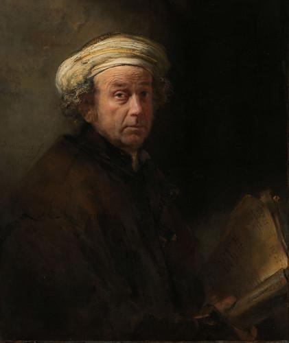"""Selfie, Naar """"Zelfportret als de apostel Paulus""""  van Rembrandt van Rijn (explored)"""