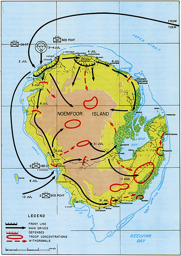 Kaart met aanvalsplan Amerikanen op Japanse posities op het eiland Noemfoor in operatie Cyclone.