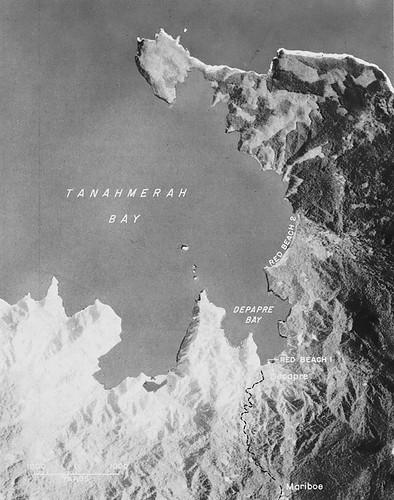Amerikaanse legerkaart met landingsplaatsen in Tanah Merah baai op 22 april 1944