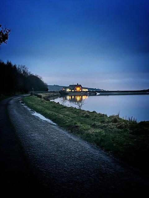 Winter walk at Cowm reservoir
