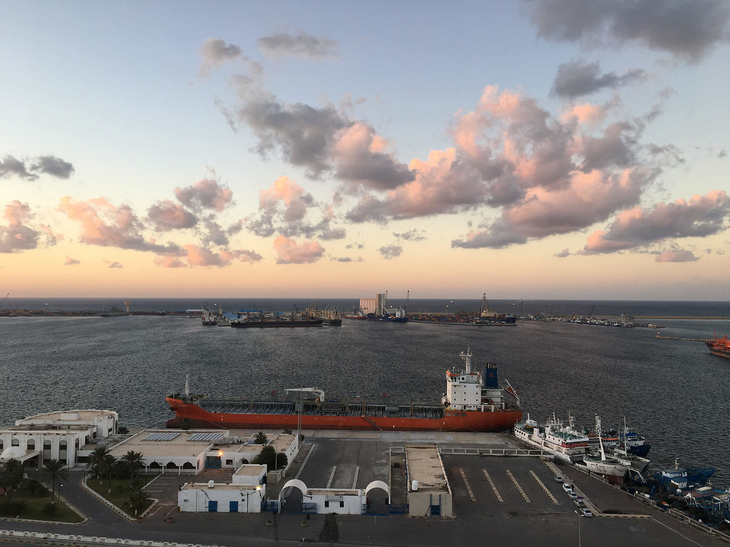 An oil tanker moored in the port of Tripoli, Libya, in December 2018. CRISISGROUP/Claudia Gazzini