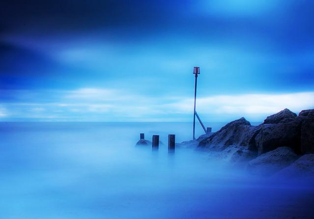 Blurry seas at West Bay, Dorset