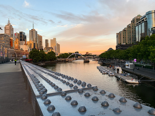 melbournecity sunset australia city highlights architecture bridge composition reflections street