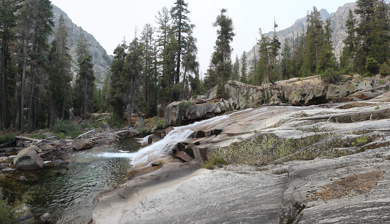 Cascading water on the Middle Fork Kings River, looking down the canyon toward Road's End