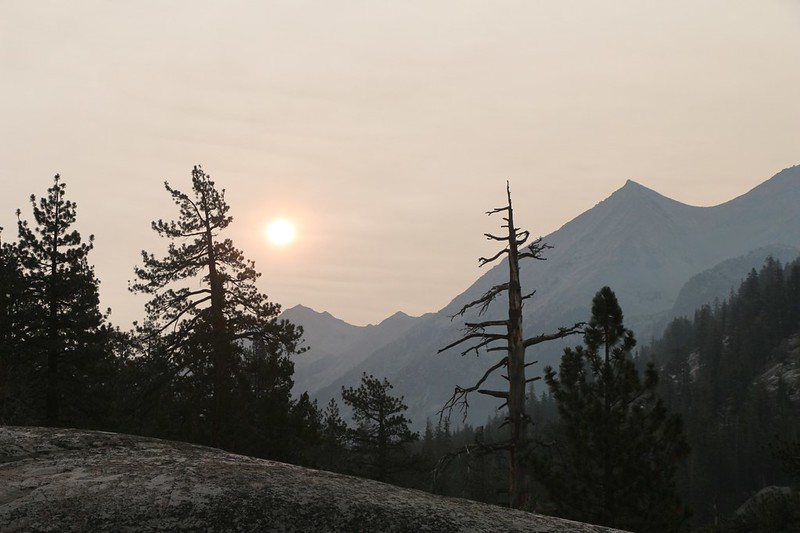 Looking back at the smoky sunrise, east up Palisade Creek, from the Pacific Crest Trail along the MF Kings River