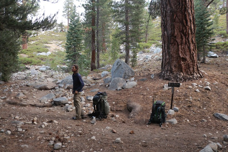 We heard a lot of water roaring nearby, so we put down our packs at the Middle Fork Trail - PCT-JMT junction