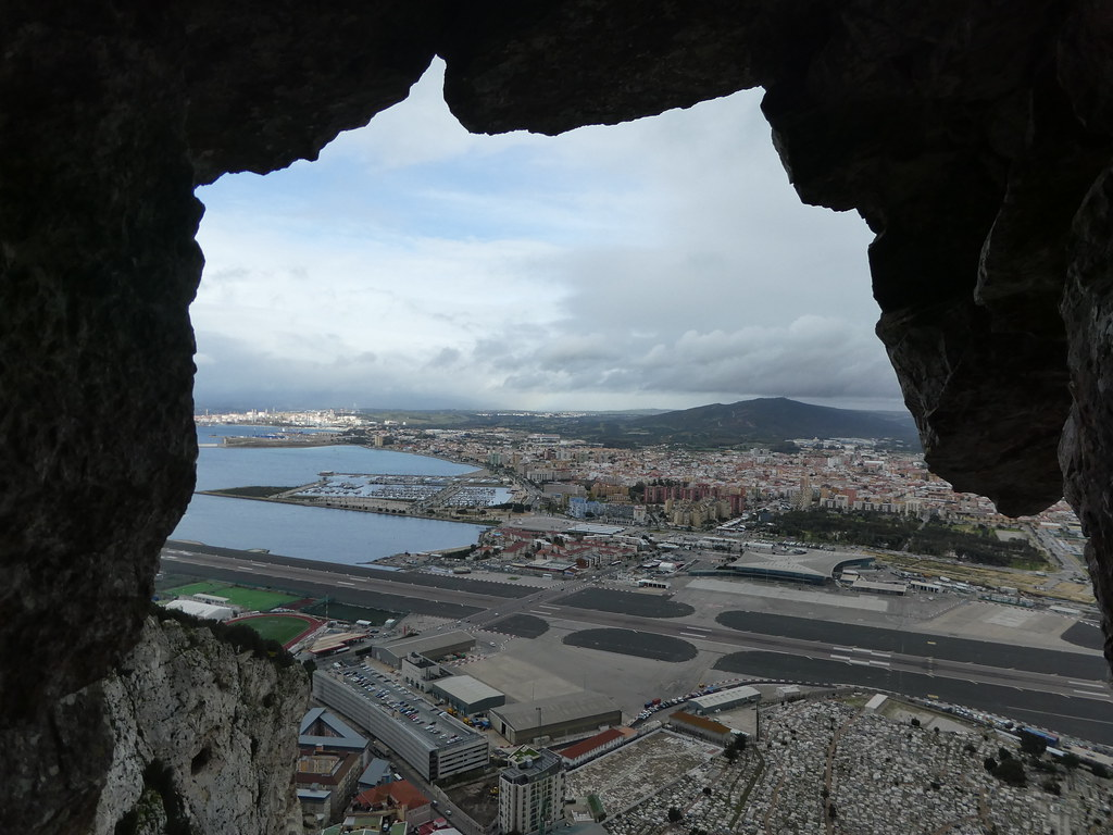 Views of Gibraltar airport from the Great Siege Tunnels, Gibraltar