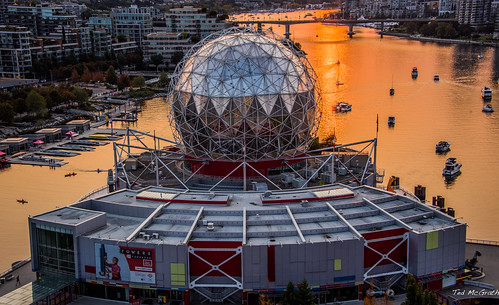 2020 bc britishcolumbia cropped nikon nikond750 nikonfx tedmcgrath tedsphotos vancouver vancouverbc vancouvercity vignetting boats dome reflection waterreflection sunset scienceworld water towers dock pier cambie cambiestreetbridge bridge olympicvillage cans2s