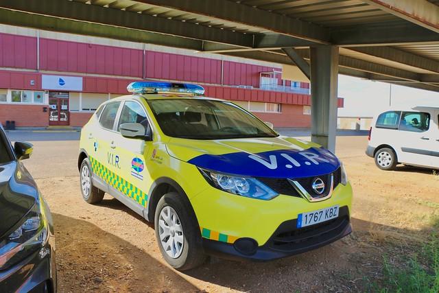 Vehículo Nissan Qashqai de apoyo al helicóptero sanitario de la C. A. de Castilla y Leon.
