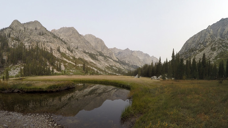 Looking north up Le Conte Canyon from Grouse Meadows with the languid Middle Fork Kings River, from the PCT