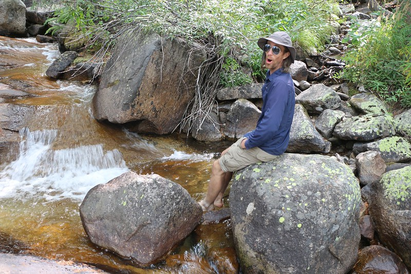 We took a boot-off break and soaked our hot feet in the icy water of the Dusy Branch in Le Conte Canyon on the PCT
