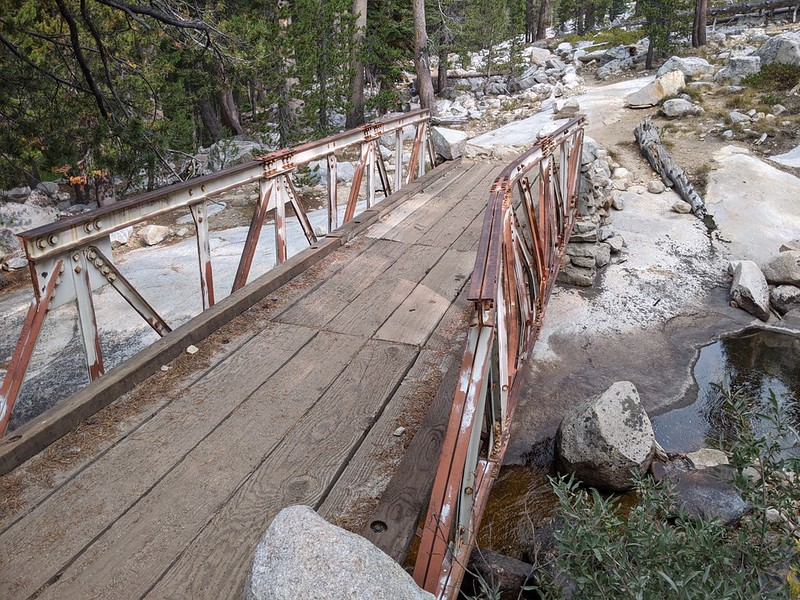 The old metal and wooden bridge that crosses the Dusy Branch near the Bishop Pass Trail junction with the PCT-JMT