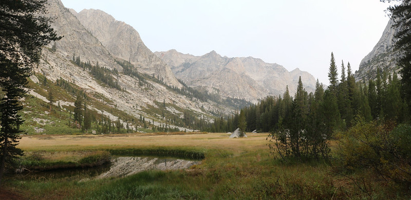 Panorama shot of Grouse Meadow and the meandering Middle Fork Kings River from the Pacific Crest Trail