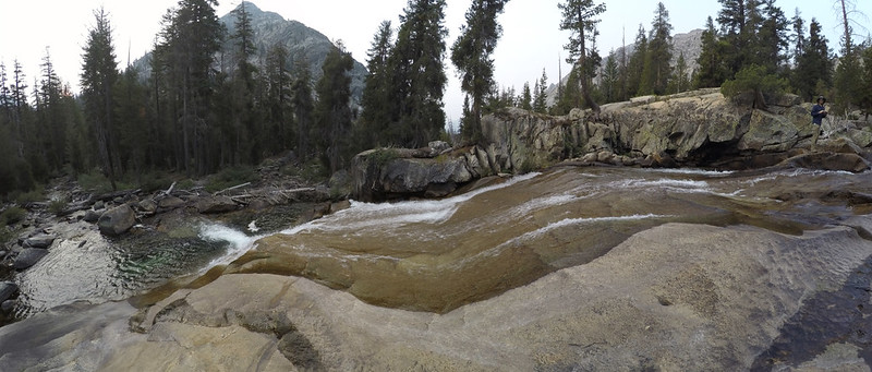 Wide angle panorama shot of the Middle Fork Kings River where it cascaded over smooth granite along the PCT
